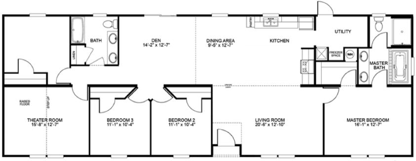 Floor plans of double wide mobile homes for 20 wide house plans
